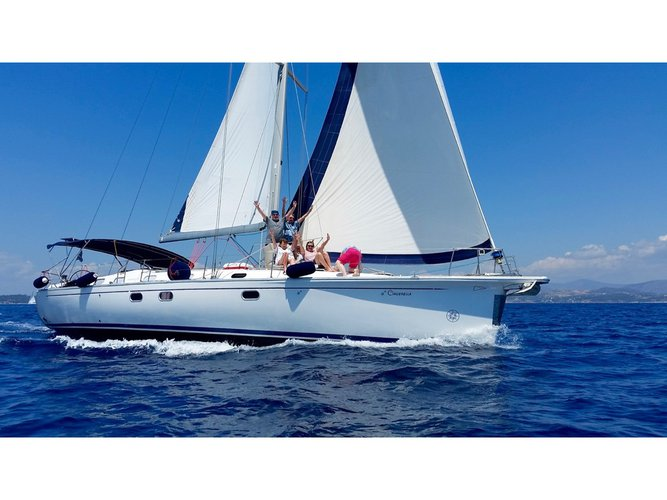 Get on the water and enjoy Poros in style on our Dufour Yachts Gib Sea 51