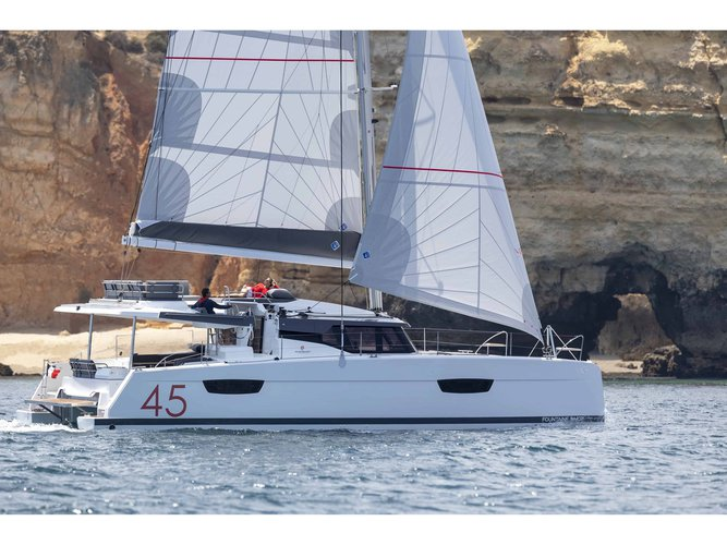 Enjoy luxury and comfort on this Fountaine Pajot Elba 45 Quatour in Seget Donji
