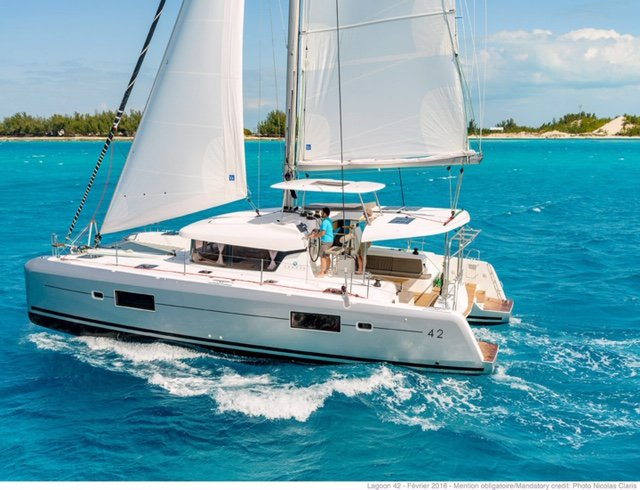 Discover Florida in style boating  on this 42 ft catamaran rental