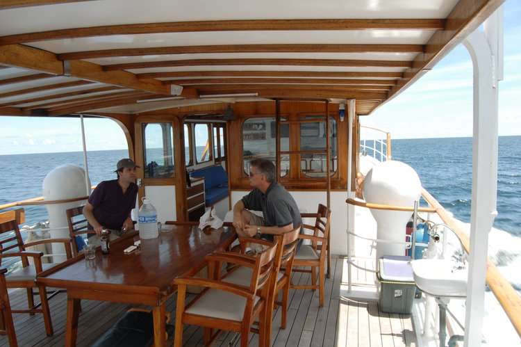 Up to 30 persons can enjoy a ride on this Trawler boat