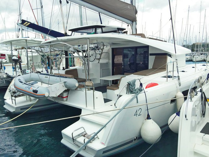 Hop aboard this amazing sailboat rental in Palairos!