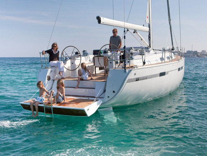 Sail the beautiful waters of Skiathos on this cozy Bavaria Yachtbau Bavaria 45 Cruiser