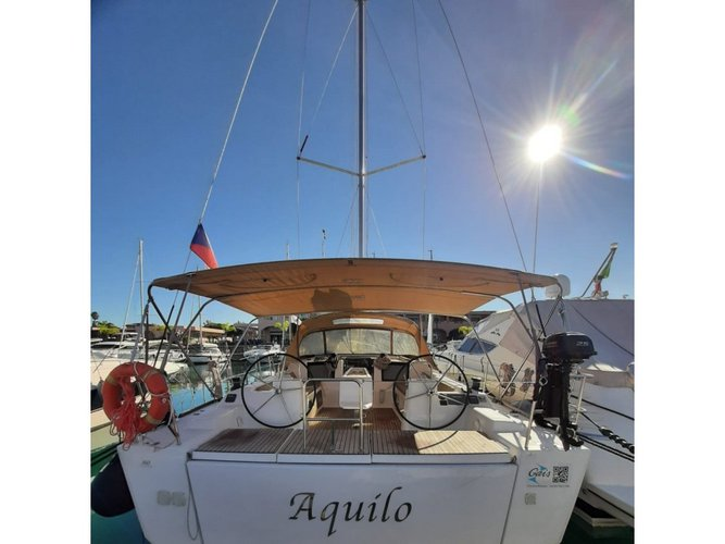 Take this Dufour Yachts Dufour 460 Grand Large Aquilo 2016 for a spin!