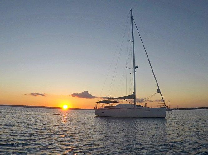 Sunset anchored