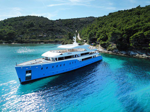 Elegant white-blue motor yacht available for rental in Croatia