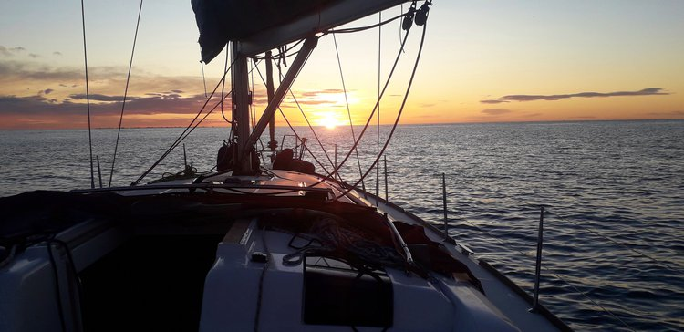 Sunset from cockpit