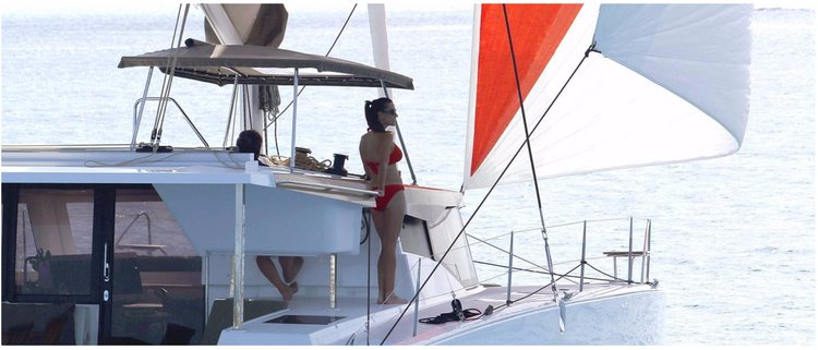Catamaran boat rental in Compass Point marina, U.S. Virgin Islands