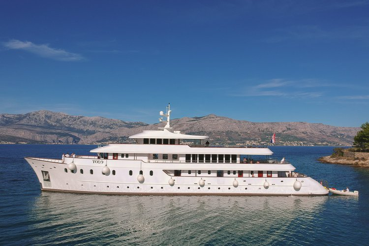 Elegant Pearly white motor yacht available for rental in Croatia