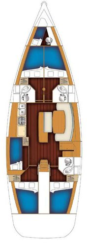 Up to 11 persons can enjoy a ride on this Beneteau boat