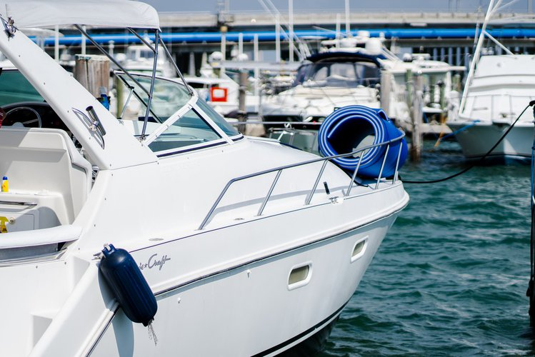 Discover Miami Beach surroundings on this Continental 380 Chris Craft boat