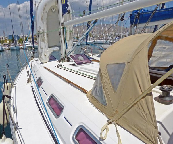 Discover Saronic Gulf surroundings on this Dufour 385 Dufour Yachts boat