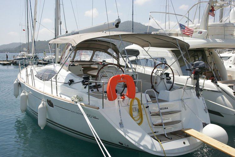 Enjoy luxury and comfort on this Jeanneau Sun Odyssey 50 DS in Aegean