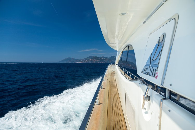 Up to 36 persons can enjoy a ride on this Azimut boat